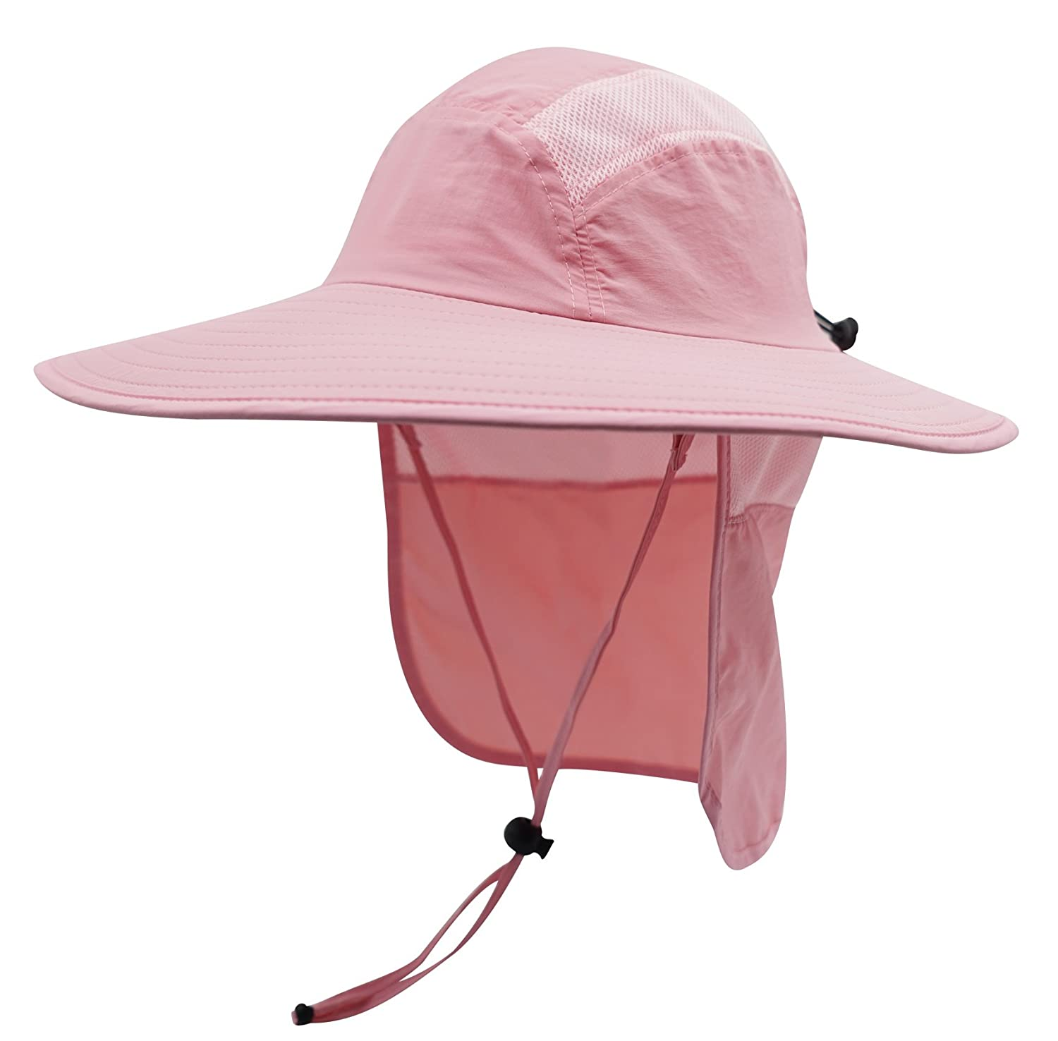 d6fd7a5b2ed Decentron Adult UPF 50+ Sun Protection Cap Wide Brim Bucket Fishing Hat  with Neck Flap Soft Pink  Amazon.co.uk  Clothing