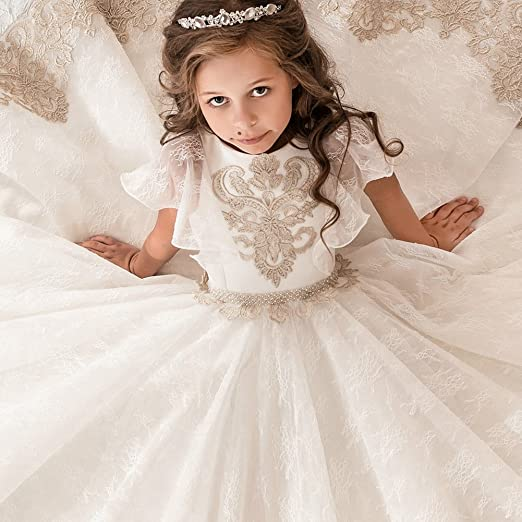 Amazon.com: FYMNSI Little Big Girls Flower Lace Applique Dress Pageant Communion Evening Tulle Dress Princess Prom Ball Gowns: Clothing