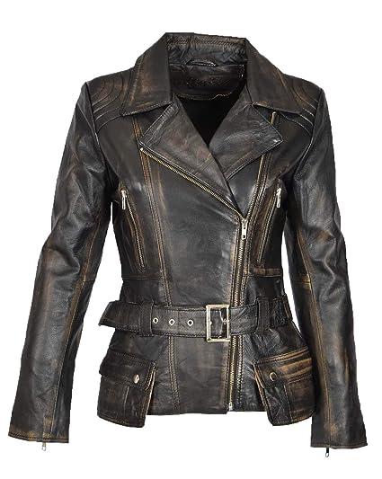 Womens Biker Jacket Black Leather Slim Fit Fashion Designer Hip