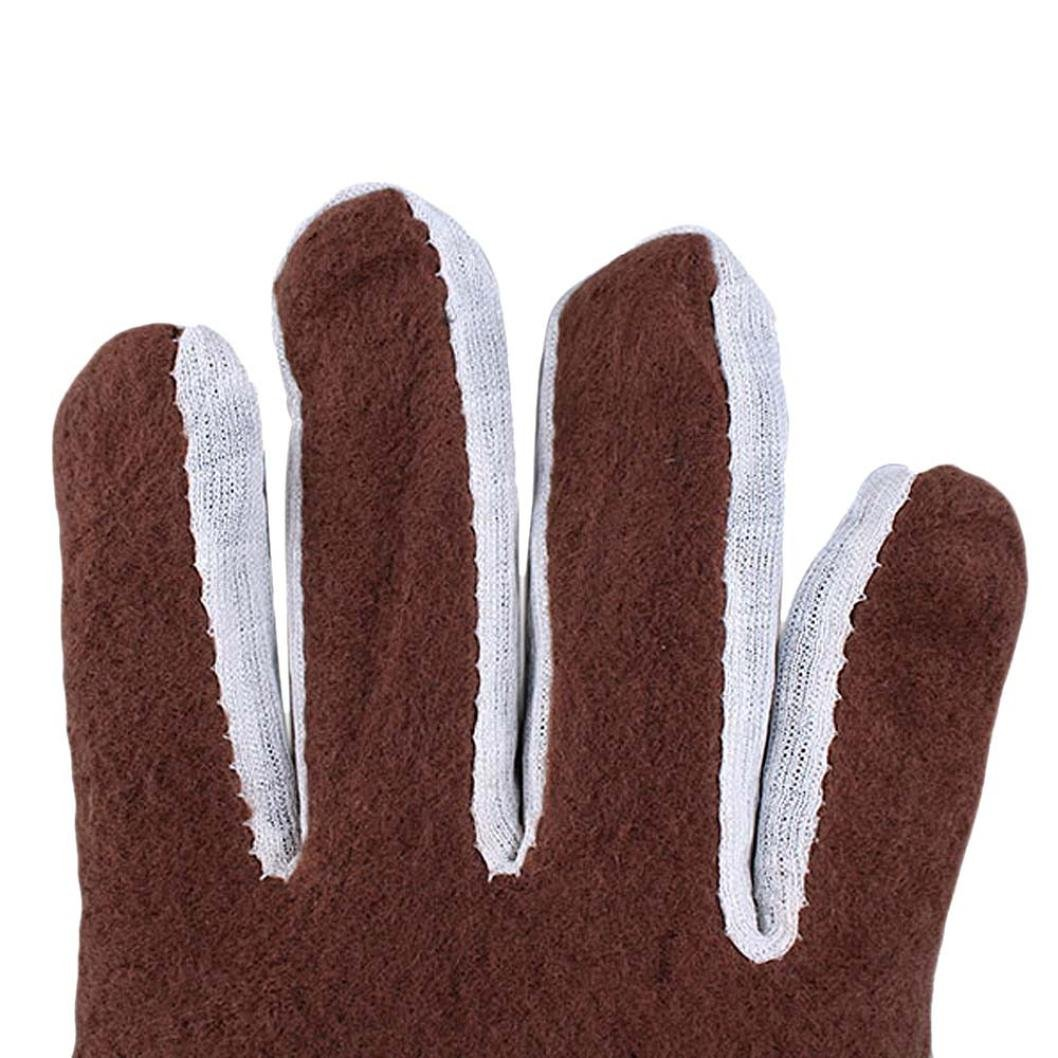 Mens Luxurious Pu Leather Winter Driving Gloves Cashmere Toraway Gloves