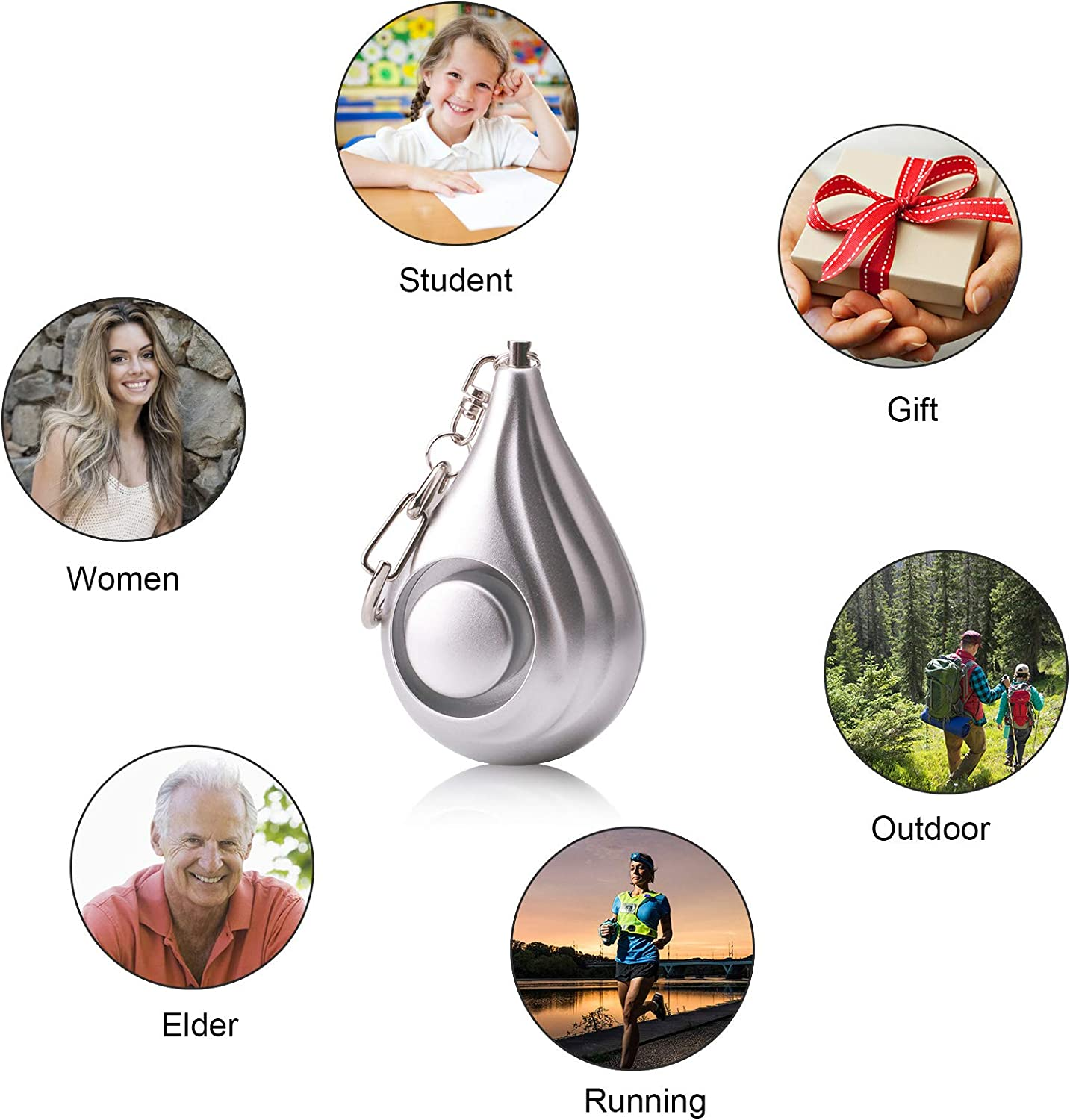 Children and Elders Zabree 130DB Personal Alarms Keychain with Batteries Included New Personal Security Alarms for Women Safesound Personal Alarms