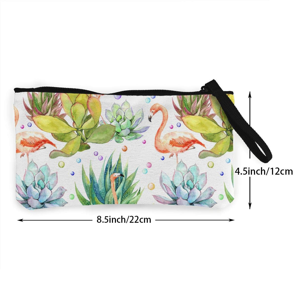 Zipper Small Purse Wallets Girls Canvas Coin Case Cellphone Clutch Purse With Wrist Strap Flamingo In Succulents Pattern