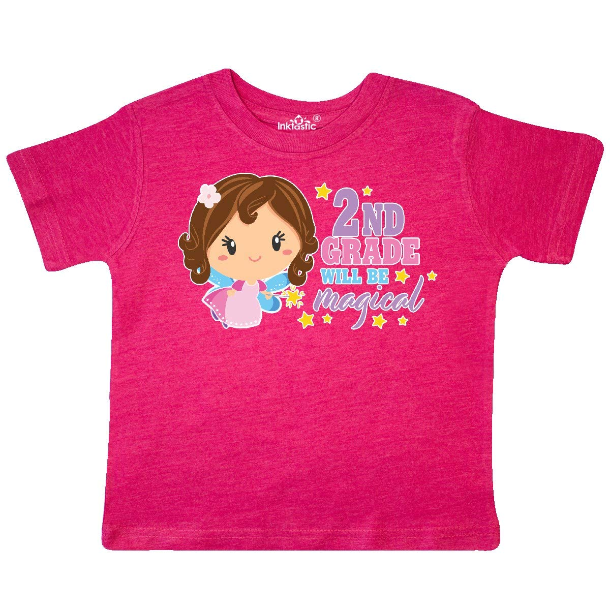inktastic 2nd Grade Will Be Magical with Brown Haired Fairy Toddler T-Shirt