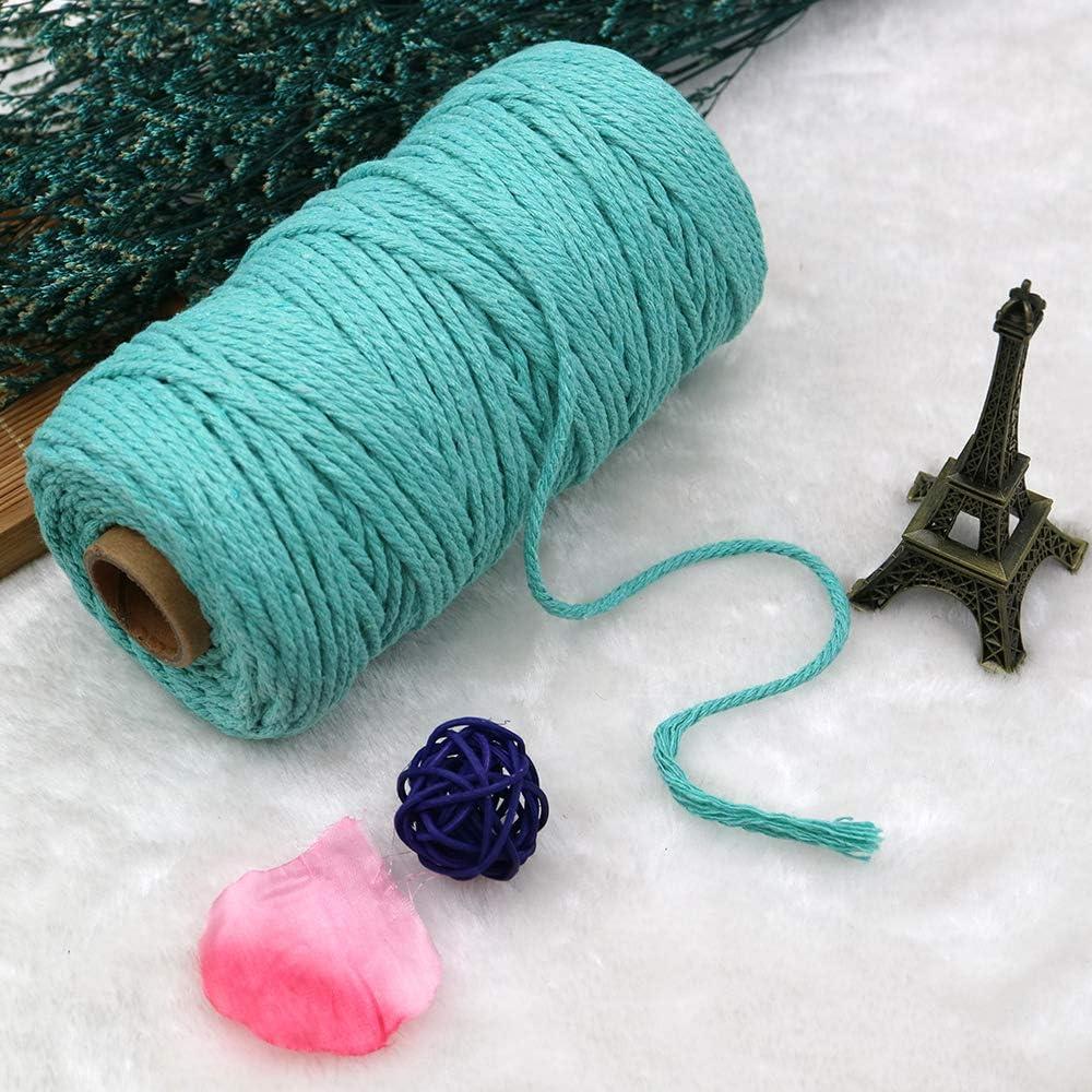 Longhnll Cuerda de Yute Natural de 3 mm Cuerda de Yute de Yute para Mejores Artes y Manualidades Cuerda de Yute de 4 Capas de 328 pies Color Azul Cuerda de Regalo Duradera