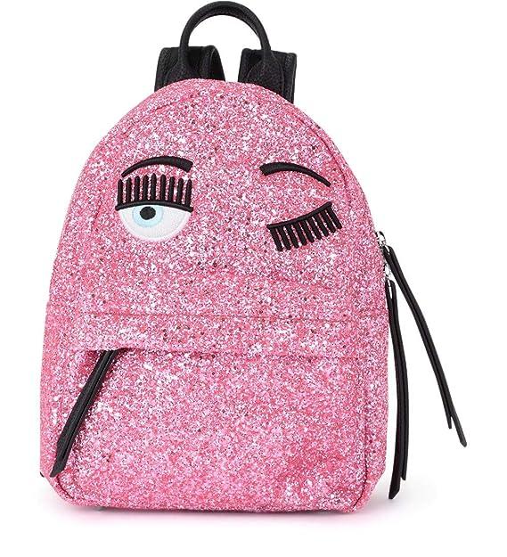 d8d4e69681 Zaino Chiara Ferragni Flirting small in glitter rosa ed eco pelle nera:  Amazon.it: Abbigliamento