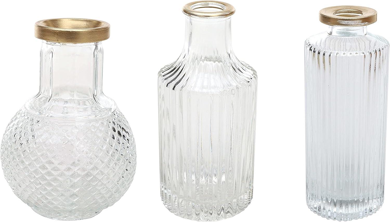 DN DECONATION Glass Vases for Flowers,Clear Flower Vase for Wedding Decor,Gold-trimmed Cylinder Vases for Centerpieces,Small Crystal Flower Vases Decorative Wedding Centerpieces,Rustic Mini Glass Jars