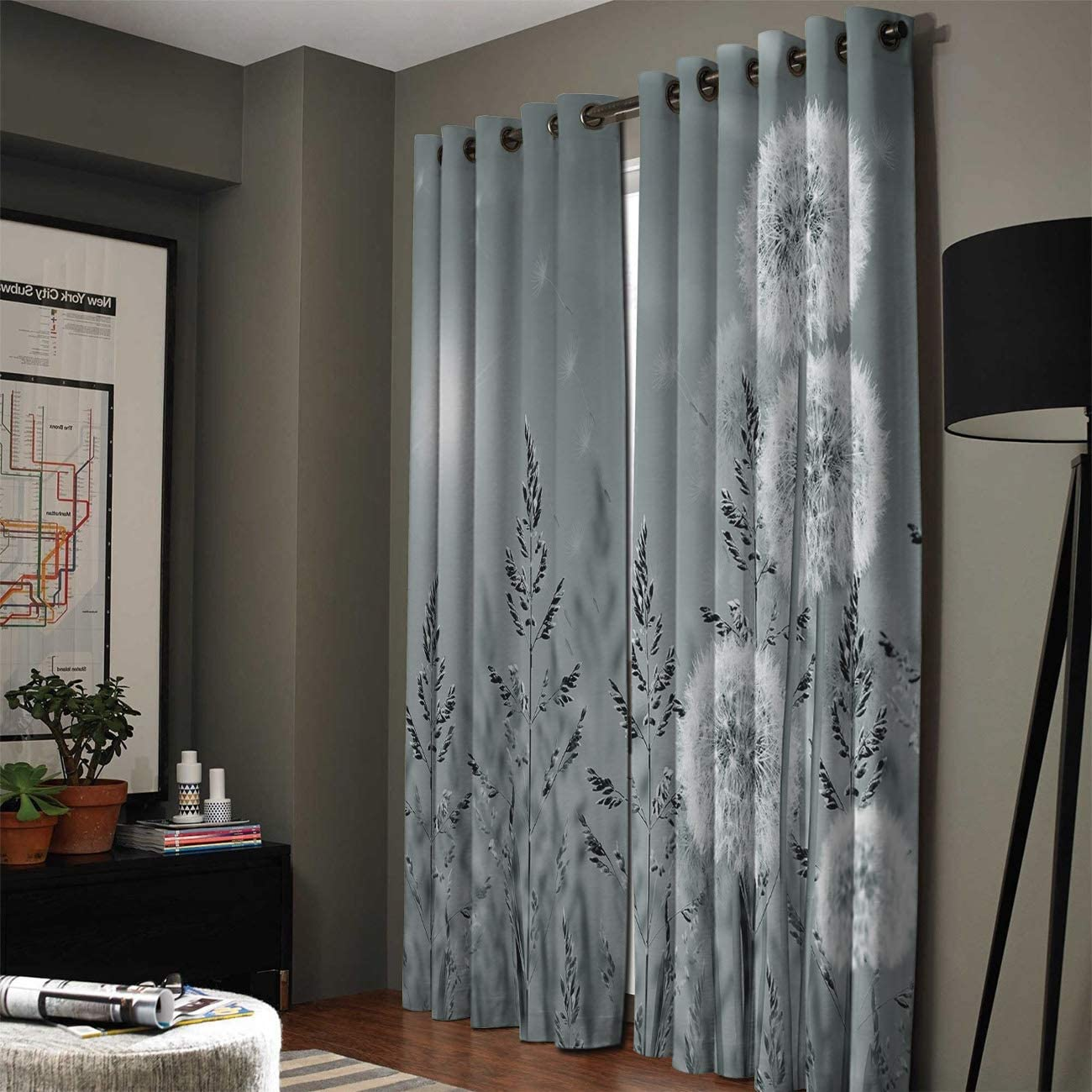 wanxinfu 2 Panel Kitchen Cafe Curtains, Dandelions Sunlight Filtering Nature Air Through, Home Decor Window Covering Tier Curtains for Bedroom Living Room 104W x 96L inch