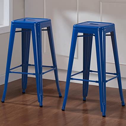 ModHaus Set Of 2 Royal Blue Tolix Style Metal Bar Stools In Glossy Powder  Coated Finish