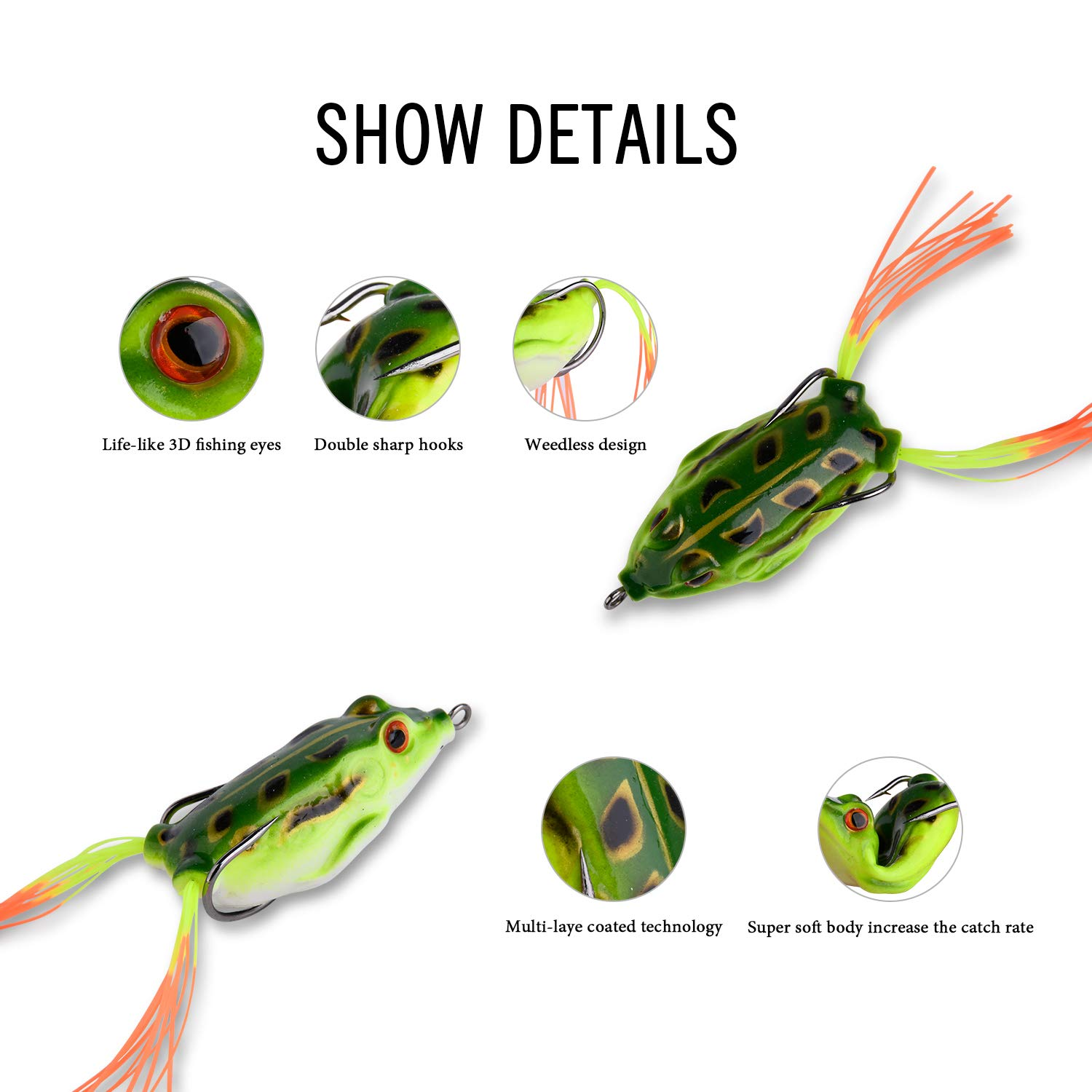 Goture Topwater Frog Fishing Lure Kit Set Lots, Especially For Bass Snakehead,Freshwater Soft Bait