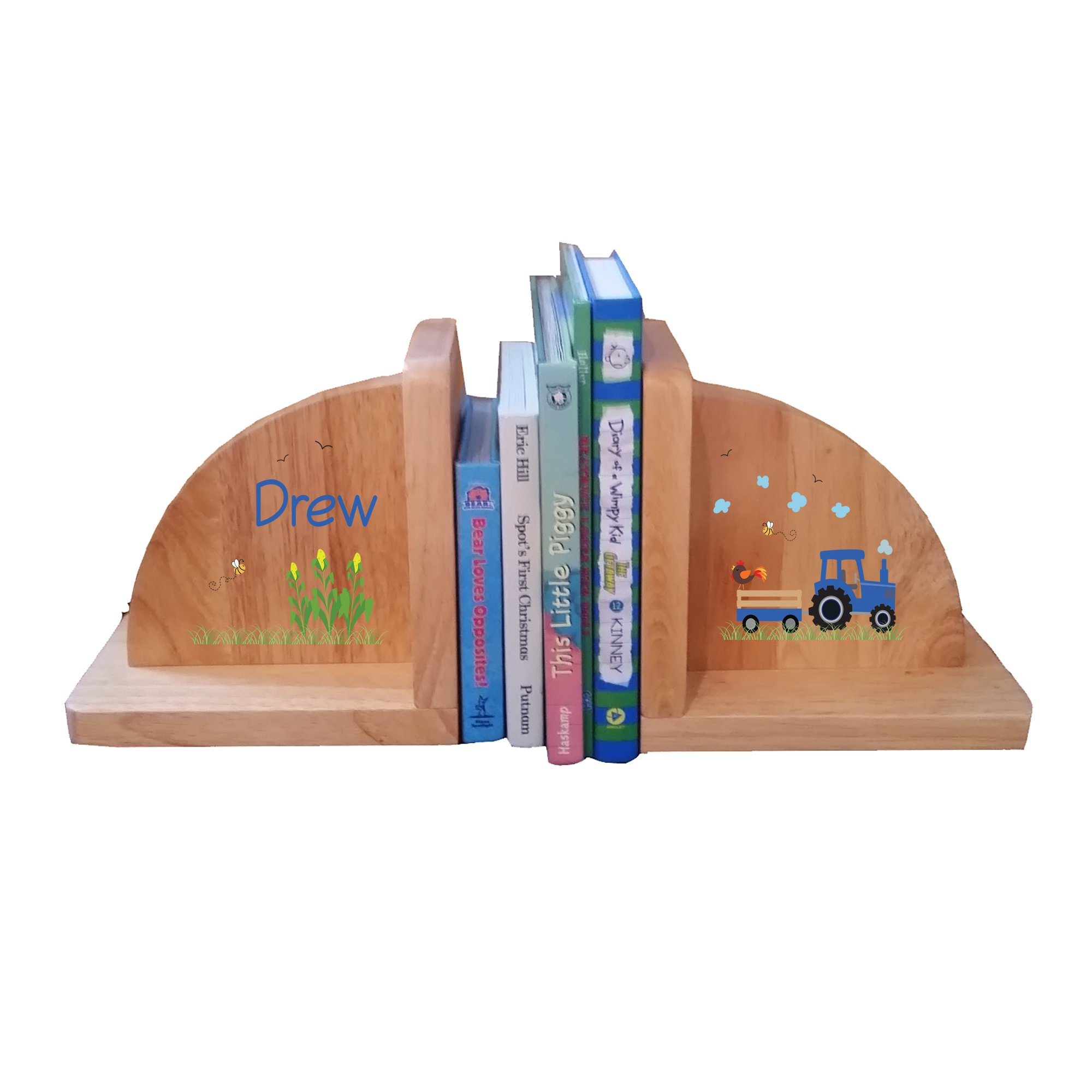 Personalized Blue Tractor Natural Childrens Wooden Bookends