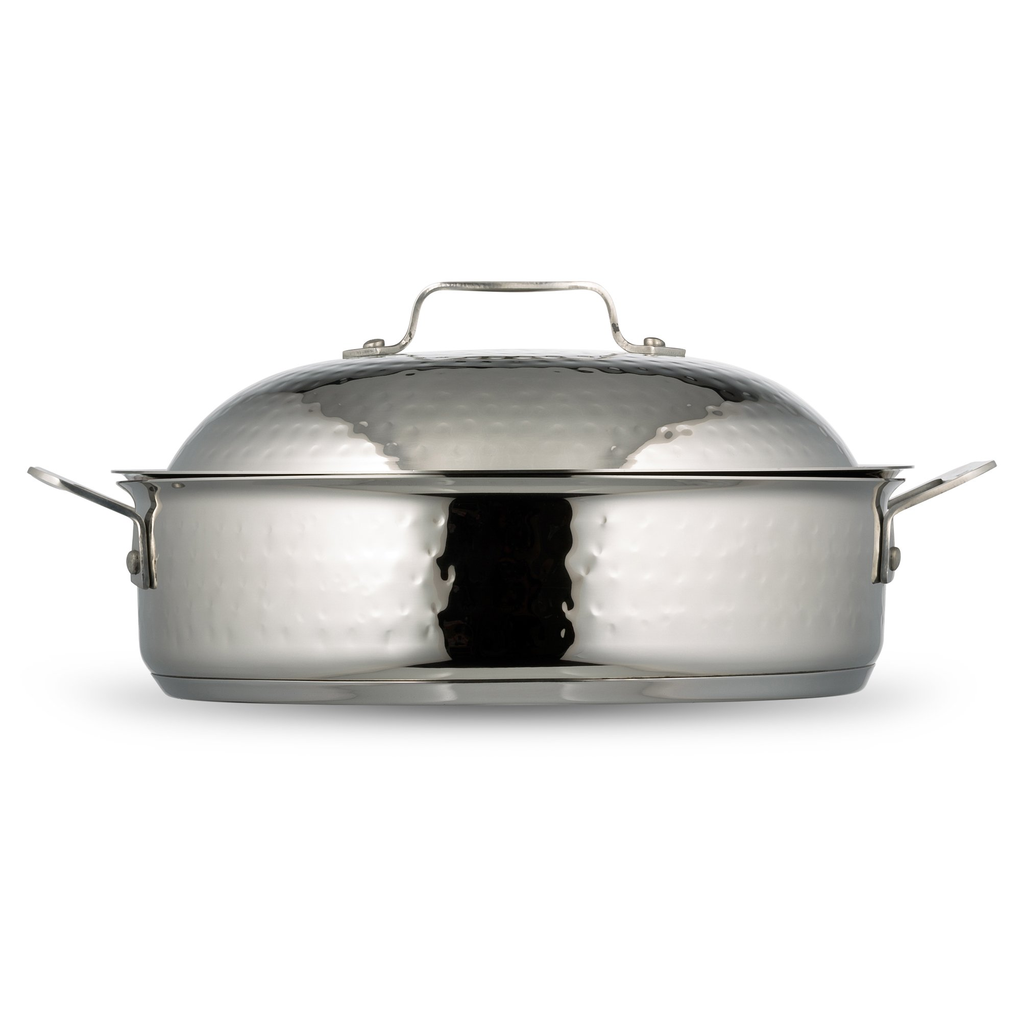 Bon Chef 60001HF Stainless Steel Induction Bottom Cucina Saute Pan with Lid, Hammered Finish, 4 quart Capacity, 13-29/32'' Length x 11-19/64'' Width x 3'' Height by Bon Chef