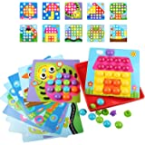Sillbird Button Art Color Matching Mosaic Pegboard Puzzles Game Early Learning Educational Toys for Toddlers and Preschoolers