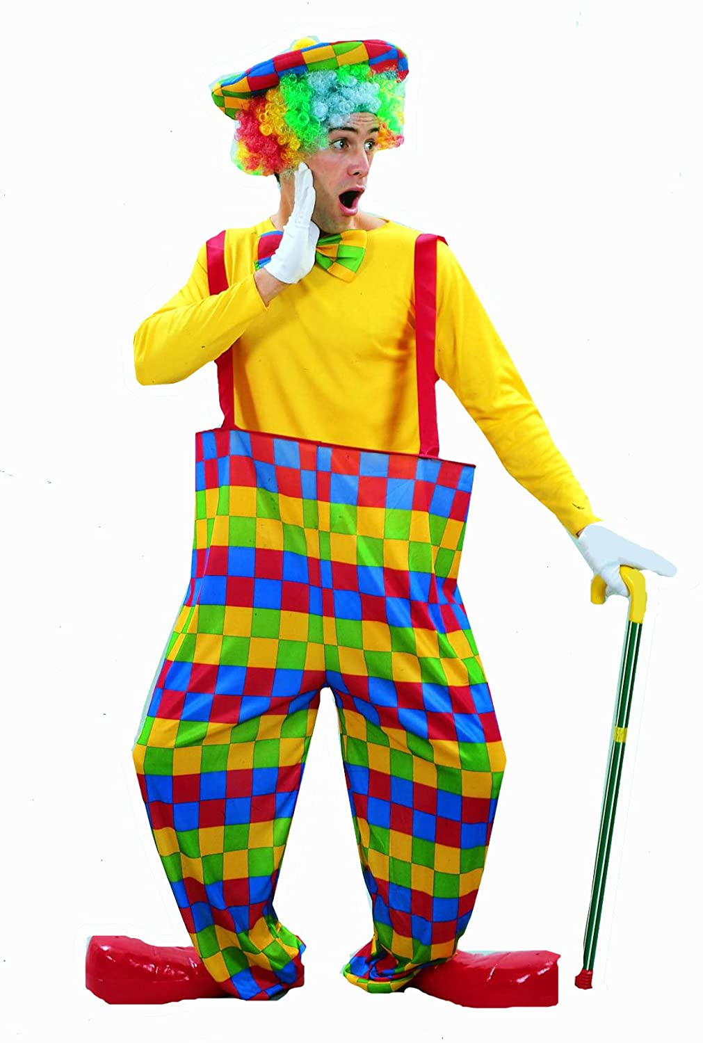 mens clown ensemble hooped trousers hat and bow amazon co uk