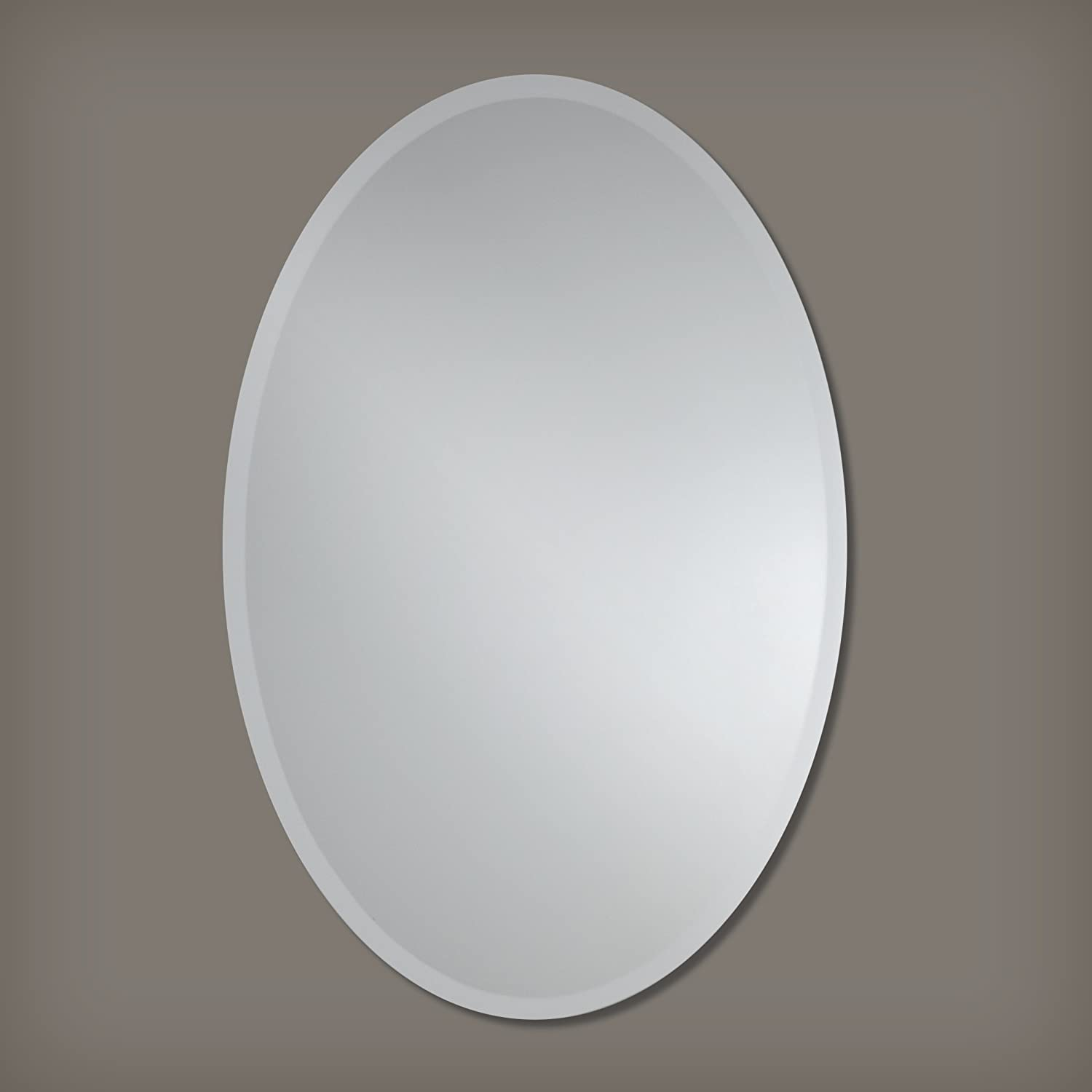 Large Frameless Beveled Oval Wall Mirror Bathroom, Vanity, Bedroom Mirror 28-inch x 40-inch