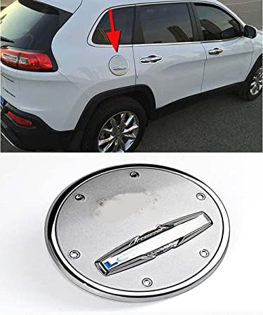 Nicebee Chrome Fuel Filler Oil Tank Gas Cap Cover Trim Garnish for Jeep Cherokee 2014-2017