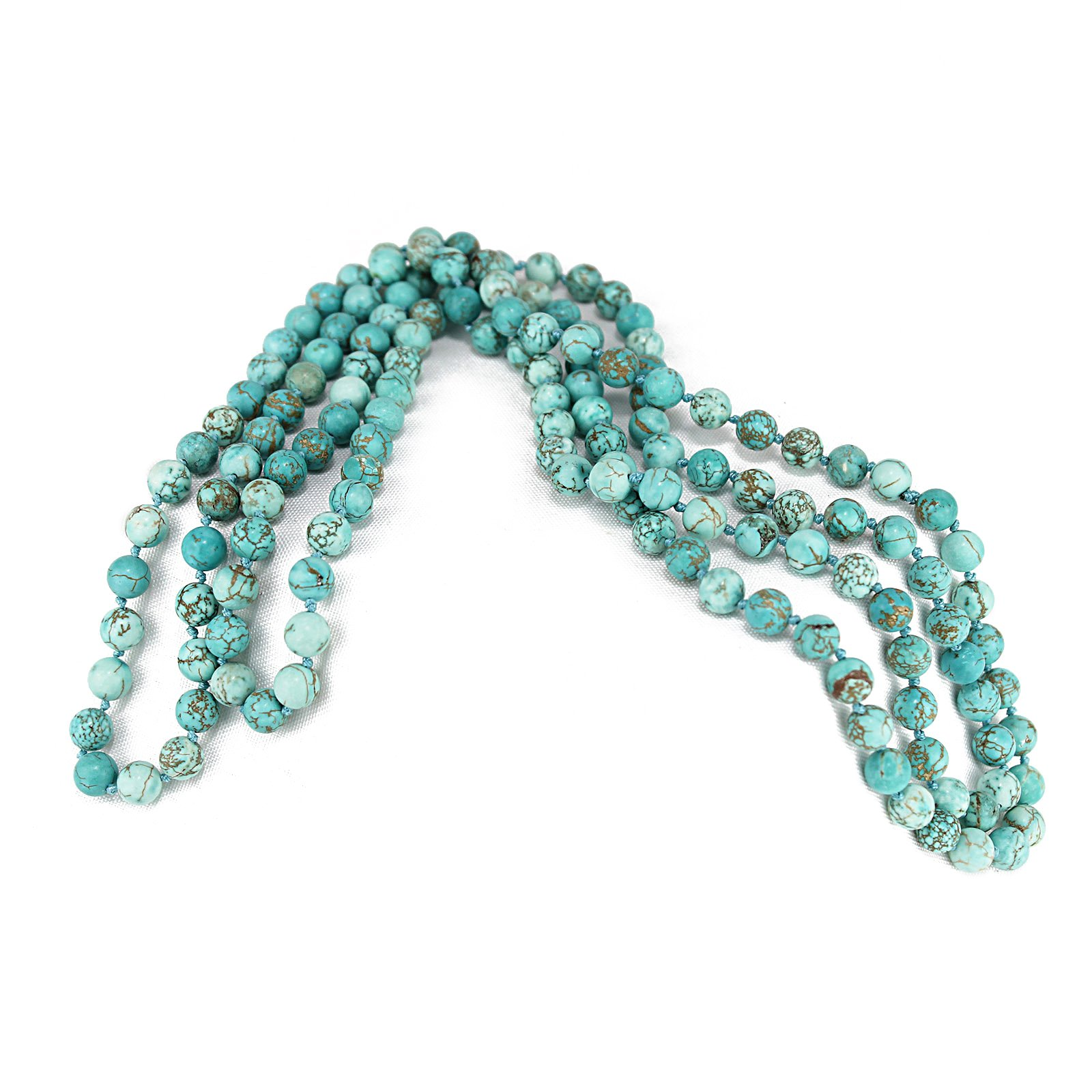 POMINA 8mm Semi Precious Stone Beaded Long Necklaces, 60 inches (Turquoise)