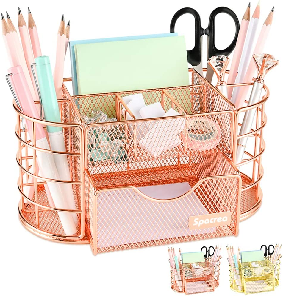 Spacrea Desk Organizers and Accessories, Office Organizer Pencil Holder for Desk, Desk Office Supplies Organizer (Rose Gold)