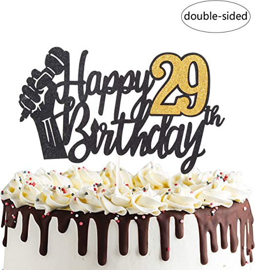 Peachy Amazon Com Happy 29Th Birthday Cake Topper With Microphone Cheers Funny Birthday Cards Online Elaedamsfinfo