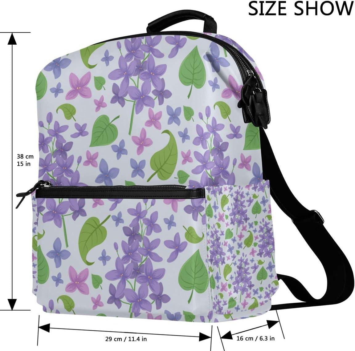 DEZIRO Purple Lilac Flowers and Leaves School Bags Backpacks Daypack Travel Bag