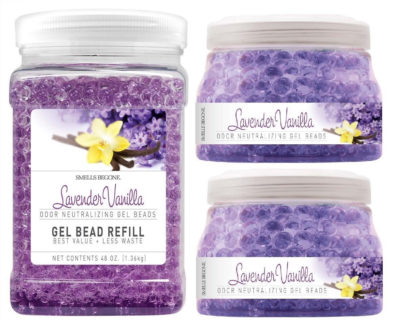 SMELLS BEGONE Odor Eliminator Gel Bead Value Pack - Air Freshener - 2 x 12 Ounce + 48 Ounce Refill (Purple)