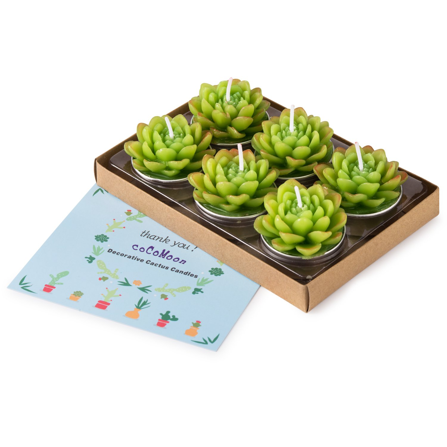 Handmade Delicate Succulent Cactus Candles Perfect Cactus Tealight Candles for Birthday Party,Wedding Spa COCOMOON Cactus Candles Home Decor Birthday Wedding Party( 6 Pcs) Home Decor Birthday Wedding Party/( 6 Pcs/) Cactus Candles 6Pcs