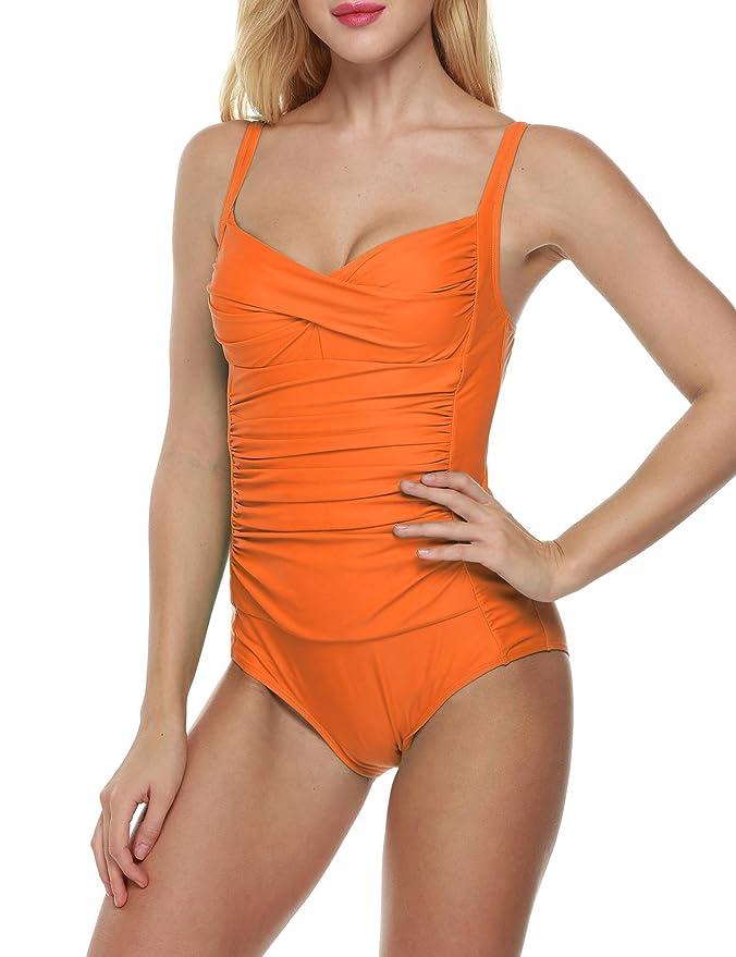 d7befd1a7a TelDen Women's Summer Beach Swimwear Bikini Swimsuits Solid Elegant Vintage  Pleated Padded Straps Bikini Large Orange: Amazon.in: Clothing & Accessories