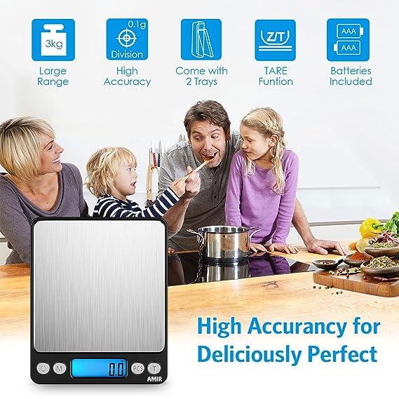 AMIR Báscula de Cocina Digital, Escala Digital de 3 kg x 0.1 g, Escala de Letras de alta Precisión con Función de Tara, Función de Conteo de Piezas, ...