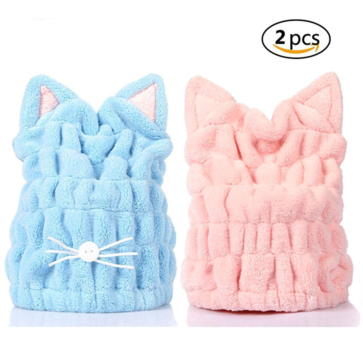 Microfiber Hair Drying Cap Cute Cartoon Cat with Super Soft Absorbent Dry Hat Hair Wrap Towel Quick Drying Bath Towel for Shower Spa, Adjustable Wrapped Bath Cap 2 Pack(Blue & Pink)