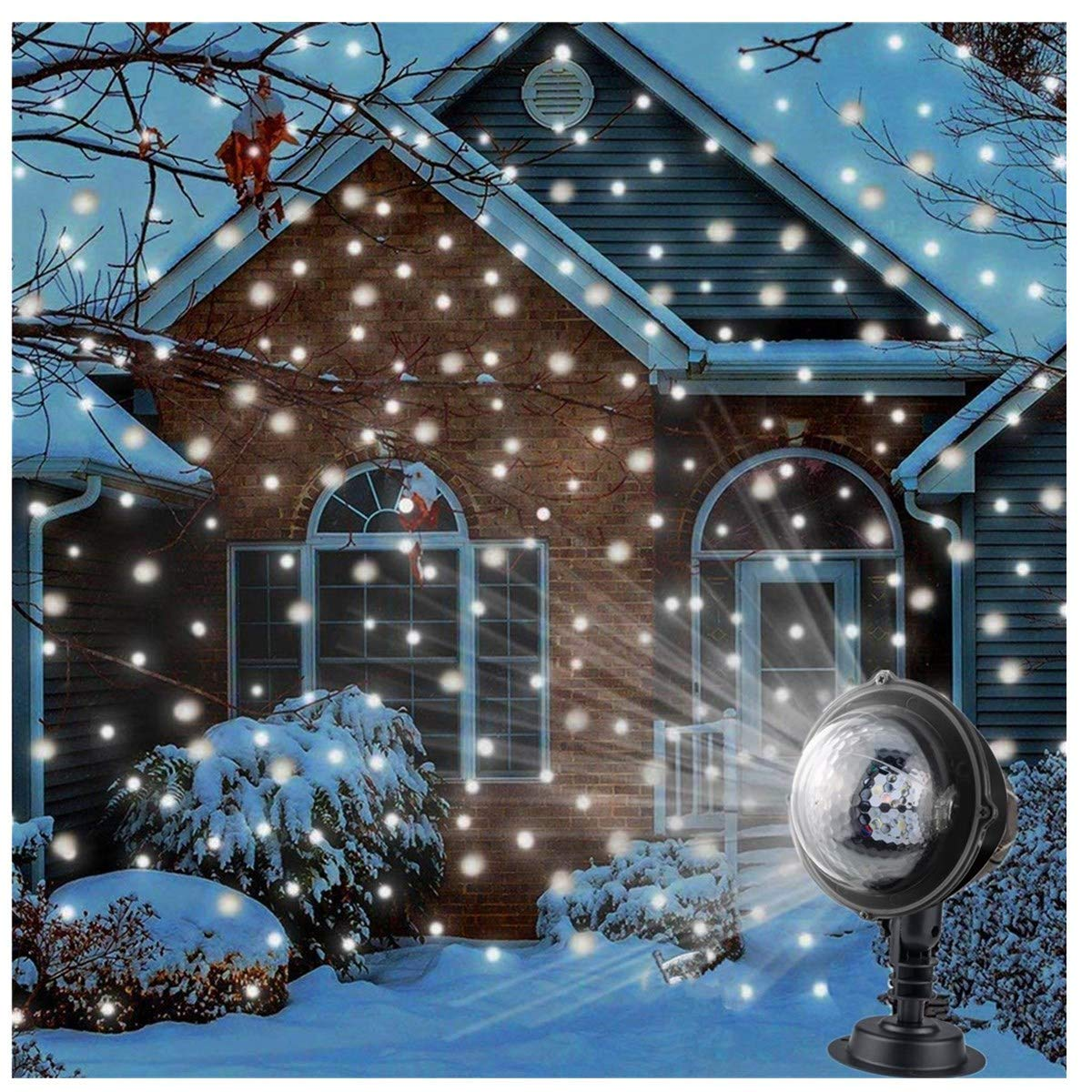 Snowfall Flurries LED Light Snow Projector Lights with Remote Control for  Halloween Xmas Holiday Wedding Party Home Garden Decoration Light