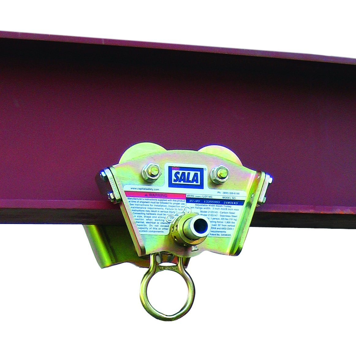 3M DBI-SALA 2103143 Trolley For I-Beam For Use w/Self Retracting Lifeline (Fits Beam Flanges 3''-8'' In Width Up To 11/16'' Thick), Gold by 3M Personal Protective Equipment