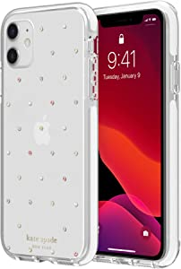 kate spade new york Defensive Hardshell Case (1-PC Comold) for iPhone 11 - Pin Dot Gems/Pearls/Clear/White Bumper
