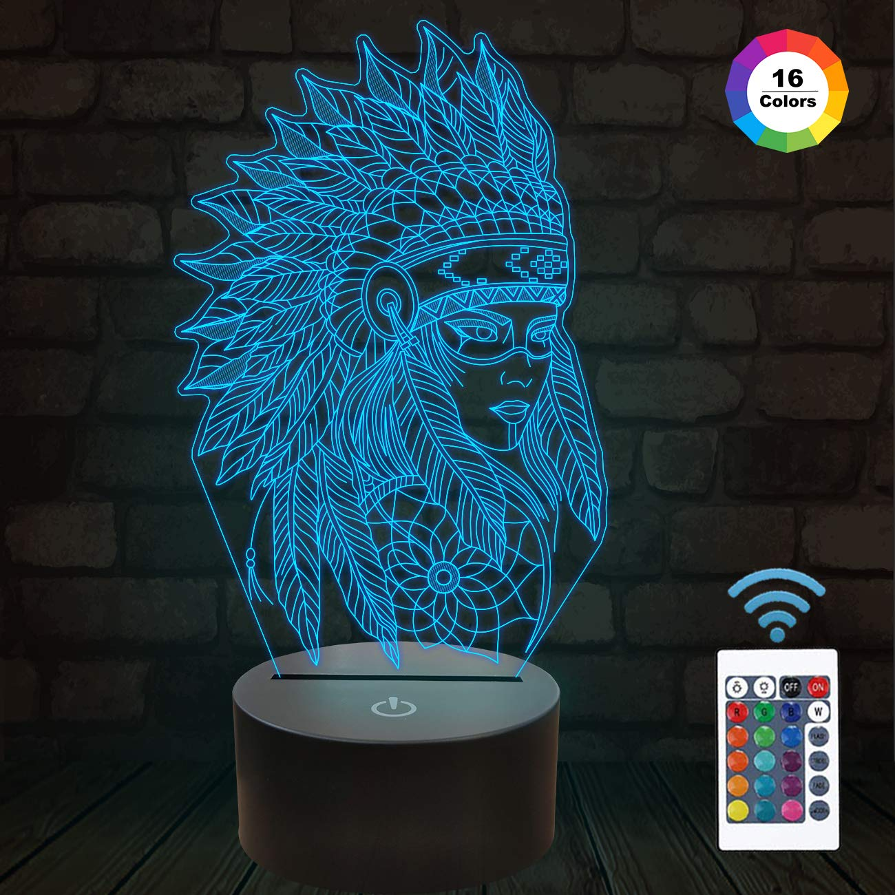 Native American Gifts, 3D Figure Night Light Illusion Lamp for Home Decor and Room Decorations, Creative Birthday Xmas Holiday Gifts with 16 Colors Changing & Remote Control & Dimmable Function