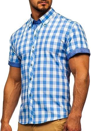 BOLF Hombre Camisa a Cuadros De Manga Corta Abotonada Cuello Americano Camisa de Algodón Slim Fit Estilo Casual Mix 2B2: Amazon.es: Ropa y accesorios