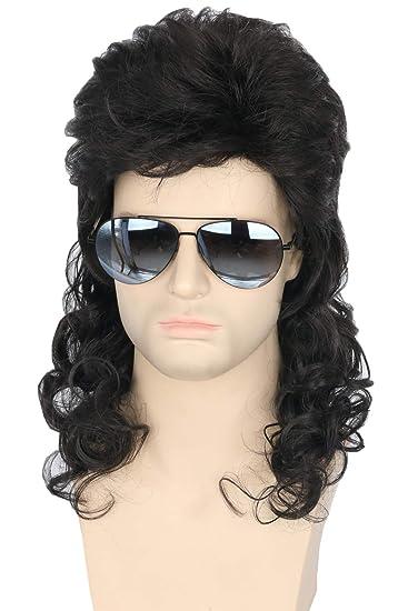 Amazon.com: Topcosplay Peluca para hombre, de los años 80 ...