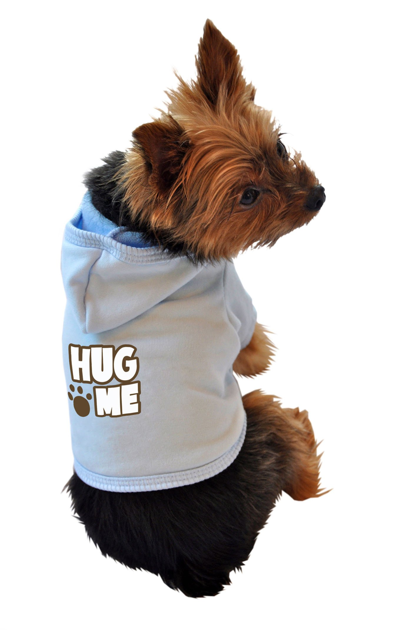 Ruff Ruff and Meow Dog Hoodie, Hug Me, Blue, Medium