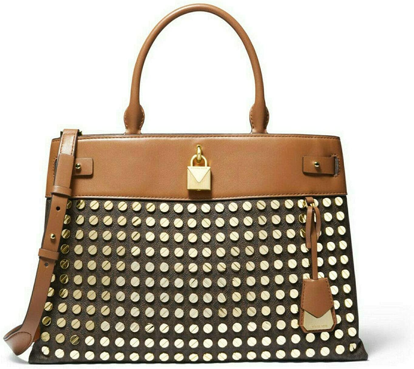MICHAEL Michael Kors Gramercy Large Studded Logo and Leather Satchel in Brown/Acorn