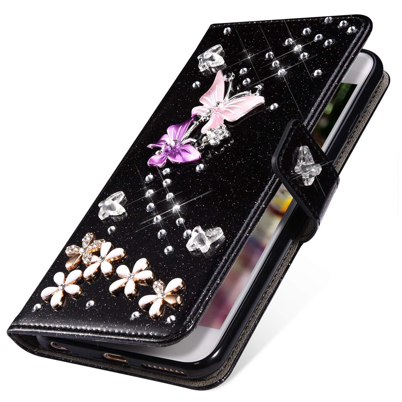 Rann.Bao Compatibile per Huawei P10 Lite Custodia Magnetica Flip Cover in Pelle Design a Diamante Brillantini Lucido Libro Portafoglio Funzione Supporto di Stand e Carte Slot Antiurto Bumper,Viola