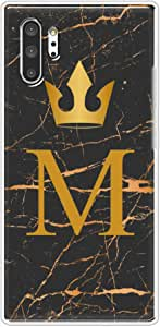 Okteq Clear TPU Protection and Hybrid Rigid Clear Back Cover Case Printed Compatible with Samsung Galaxy note 10 Plus - Golden M letter black marble By Okteq