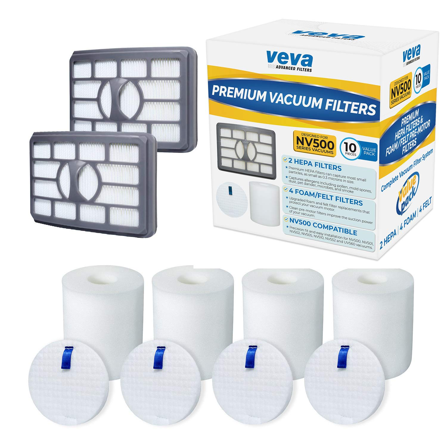 VEVA Premium Vacuum Filter Set with 2 HEPA, 4 Foam, 4 Felt for Shark Rotator Lift-Away Model, 500, 501, 502, 505, 552 and UV560