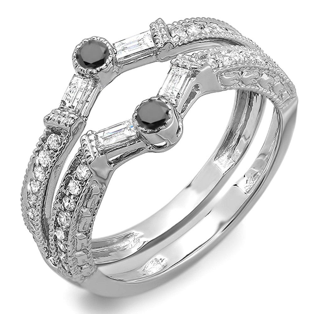 Dabangjewels 0.55 Carat (Ctw) 14k White Gold Plated Round & Baguette White & Black Diamond Ladies Anniversary Wedding Enhancer Guard Band 1/2 CT