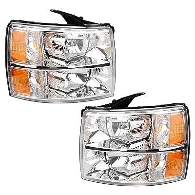 MAYASAF Headlight Assembly Fit 2008-2013 2014 Silverado 1500/2500HD/3500HD Chevrolet Pickup Headlamp Kit, Chrome Housing Amber Reflector Clear Lens W/Corner & Turn Signal Lamps (4 PCS): Automotive