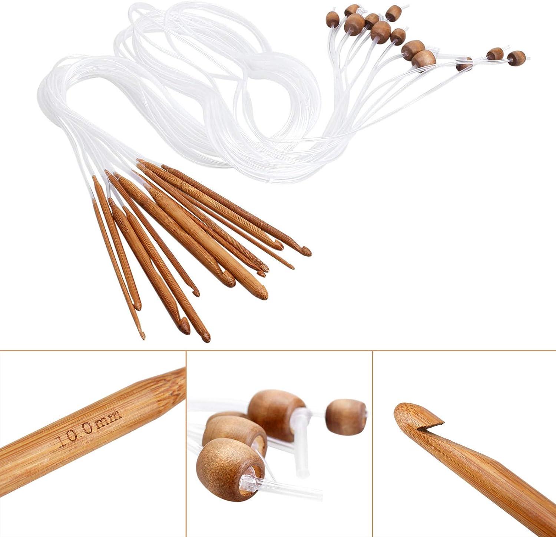 12Sizes Afghan Crochet Hooks Carbonized Bamboo for Crochet Beginner//Professional