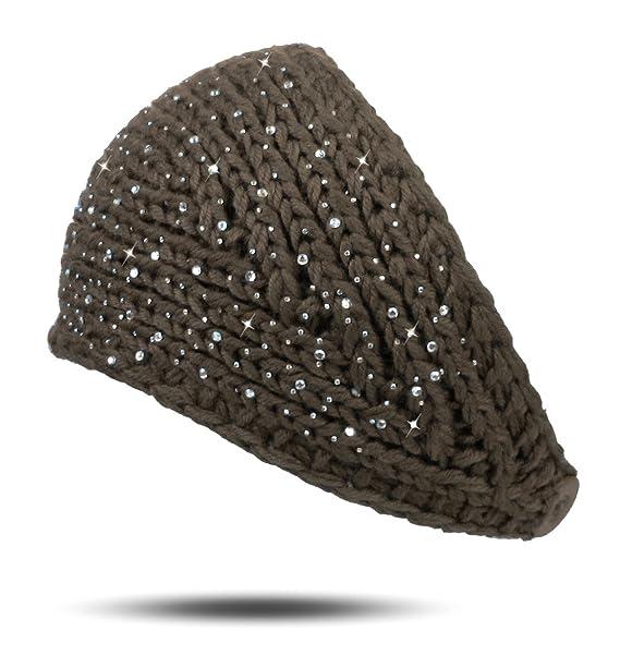Online kaufen Vereinigte Staaten Tiefstpreis Lovely Lauri Stirnband Strick Knopf Strass Steine Sprenkel Winter warm  gestrickt