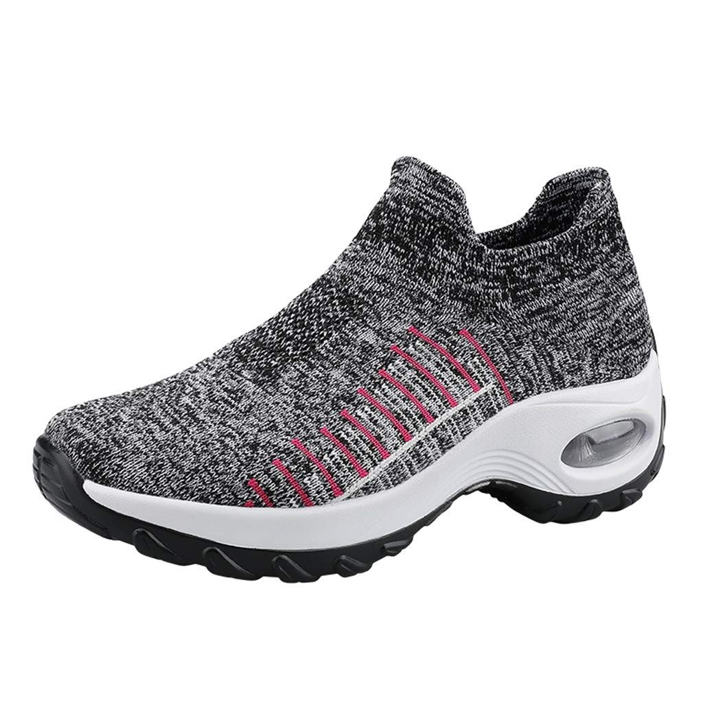 Women Sneakers Walking Shoes Lightweight Air Cushion Comfort Gym Fashion Breathable Running Athletic Sport Gray