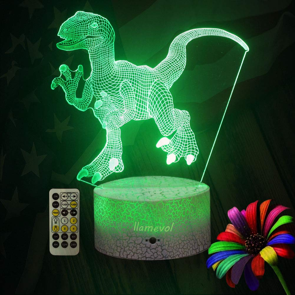 LLAMEVOL Dinosaur Night Lights for Kids Birthday Indoraptor Toy 3D Illusion Lamp Dino Gifts for Boys Home Bedroom Party Supply Decoration 7 Color Blue Raptor Remote Timer by LLAMEVOL (Image #3)
