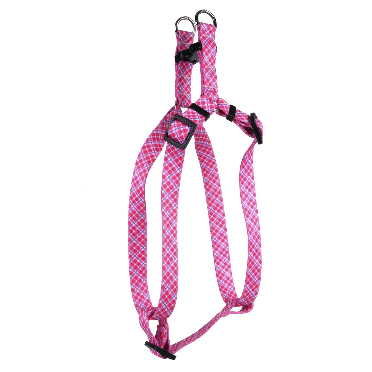 Yellow Dog Design Standard Step-in Harness, Pink & Purple Diagonal Plaid, Small 9'' - 15''