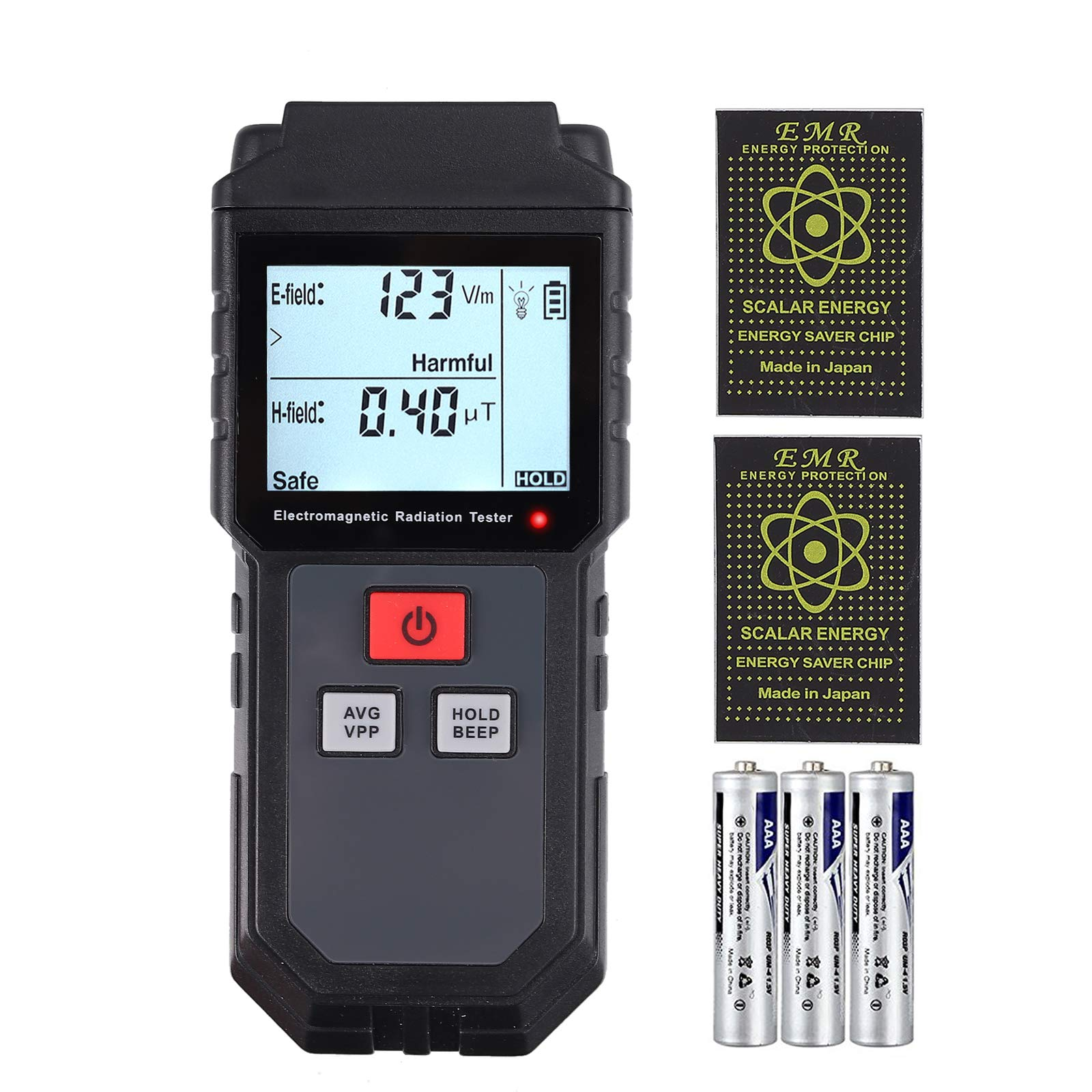 CAMWAY EMF Meter, Electromagnetic Field Radiation Detector Handheld Mini Digital Backlight LCD EMF Detector Sound and Light Alarm with 2pcs Anti Radiation Shield Sticker