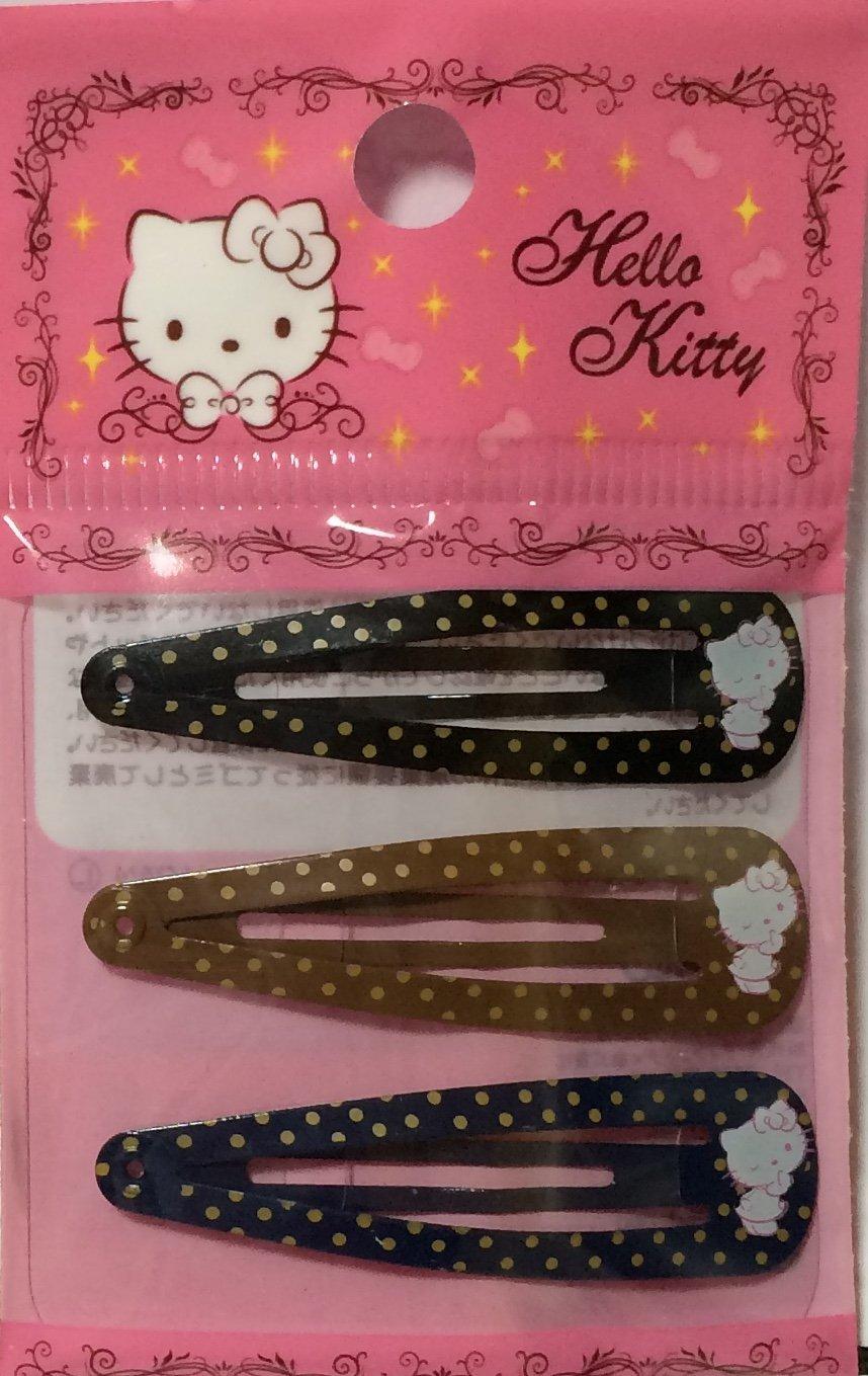 71e1de1ed Amazon.com : Sanrio Hello Kitty Hair 3-pin Accessories Barrette Dot Black  Brown Navy 3pcs Set : Beauty