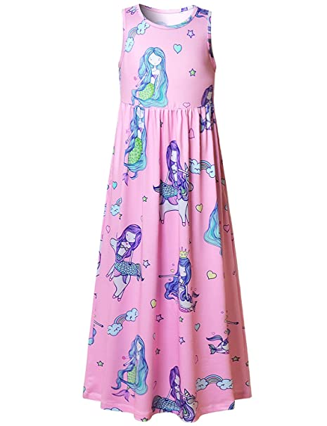 7657f0efbabe Mermaid Toddler Girl Maxi Dresses Unicorn Summer Pink Casual Cute Kids Party