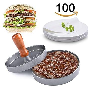 Burger Press - Molde de aluminio para hacer hamburguesas + 100 discos de cera antiadherentes,